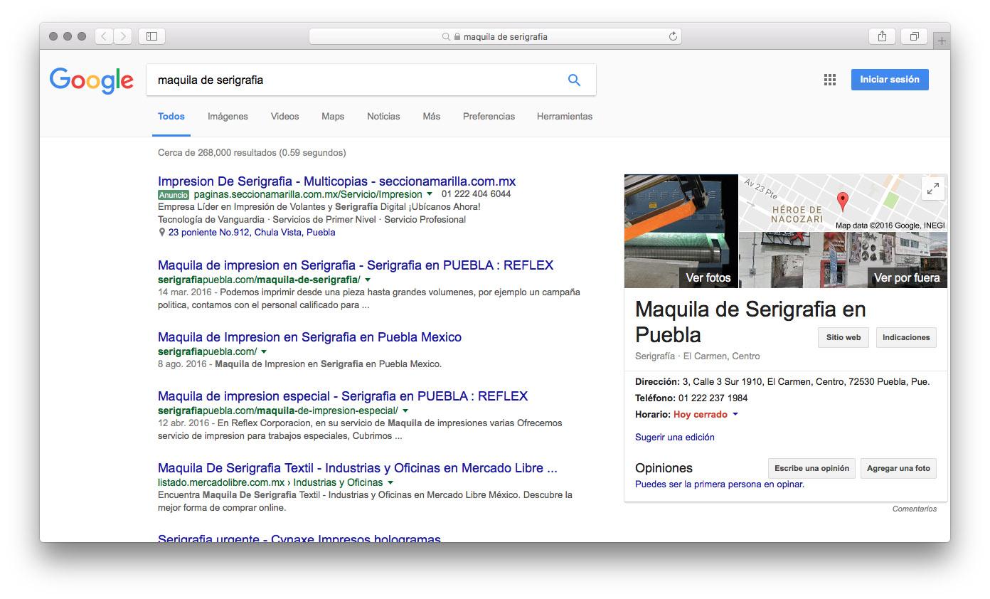 Sitio web SerigrafiaPuebla.com. PaginasPuebla.com, Diseño de Paginas WEb en Puebla